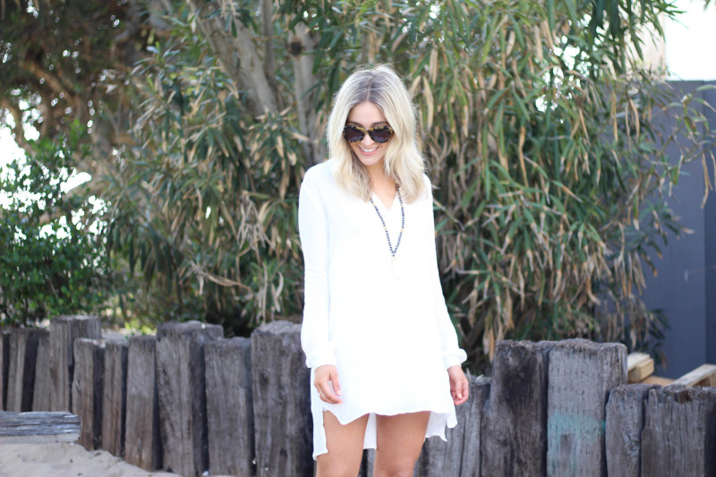 beachy white dress