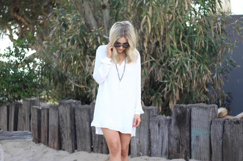white beachy dress
