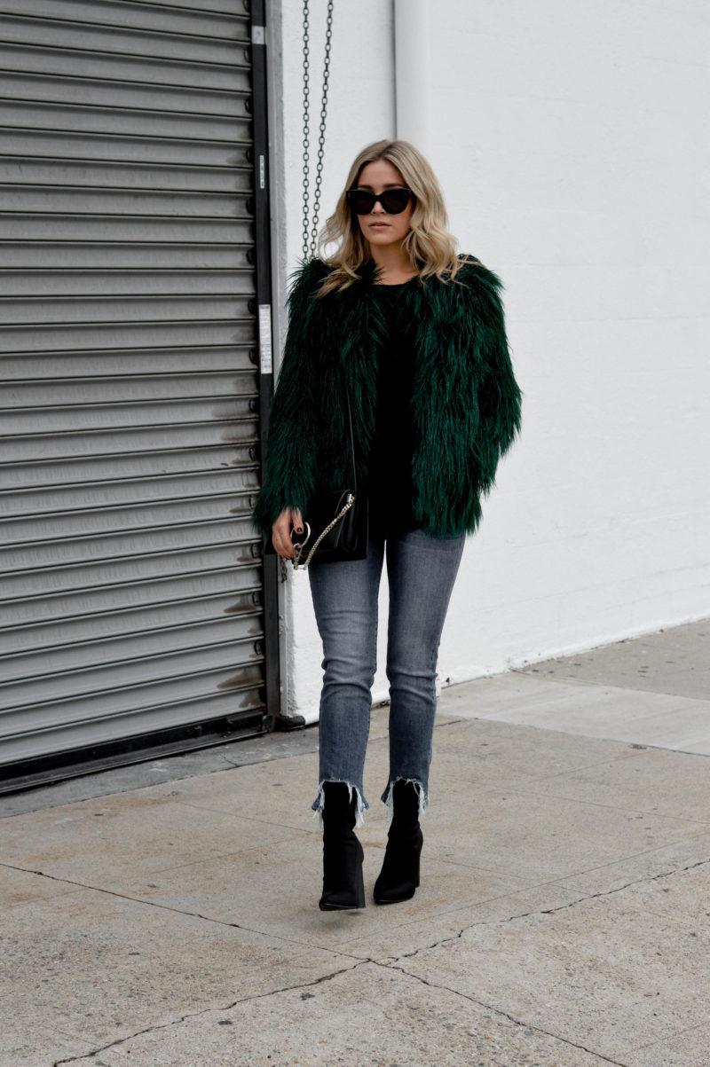 emerald green faux fur