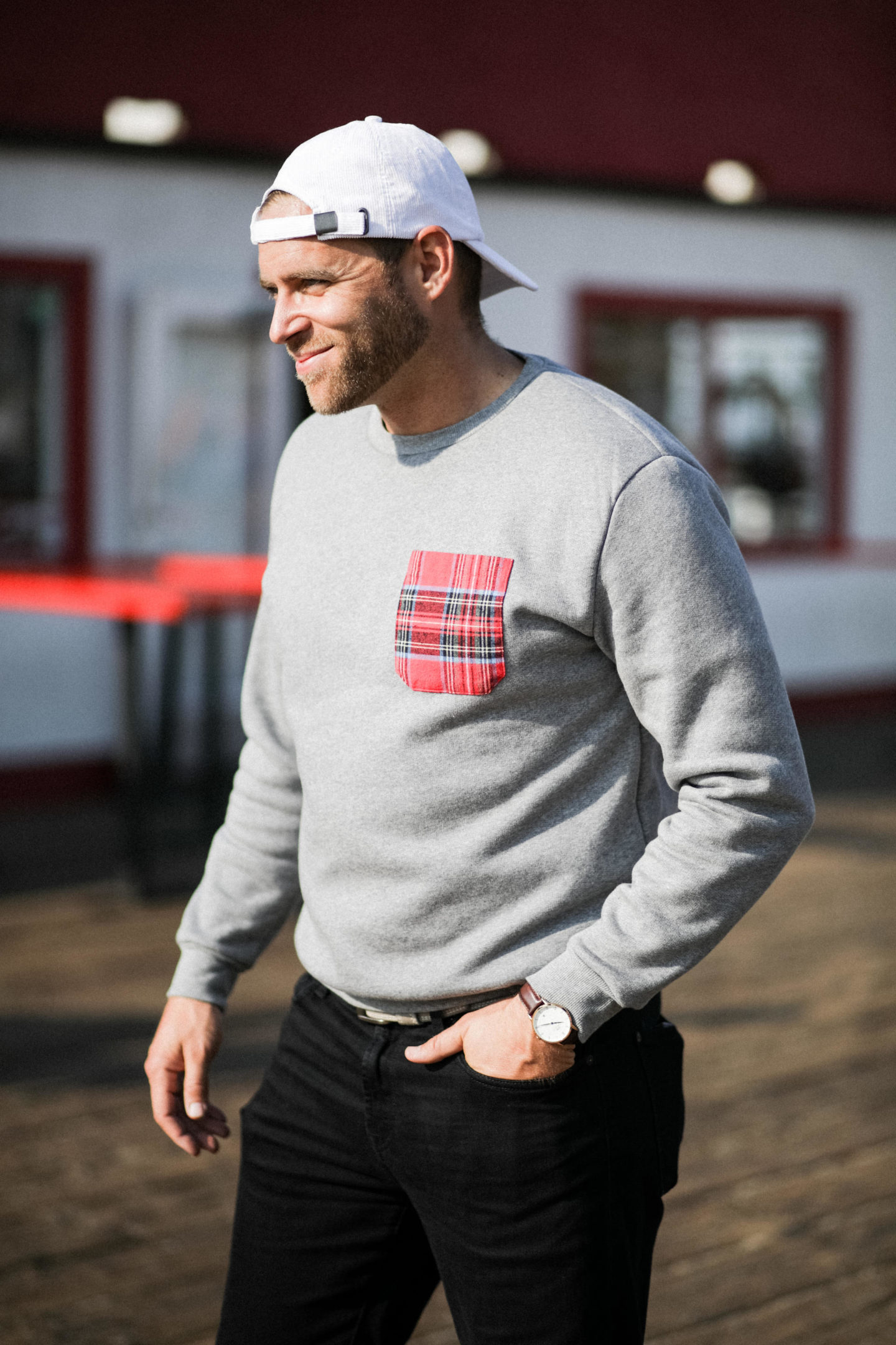 plaid pocket sweater